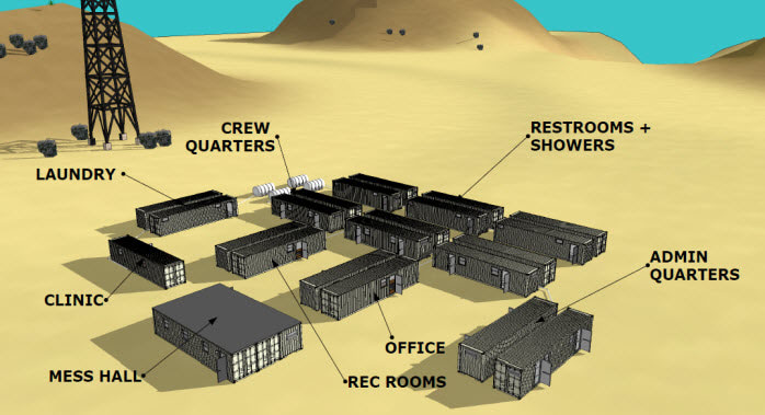Rendering of a portable man camp with container buildings.
