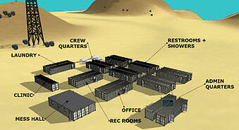 Oil field man camp made from shipping containers