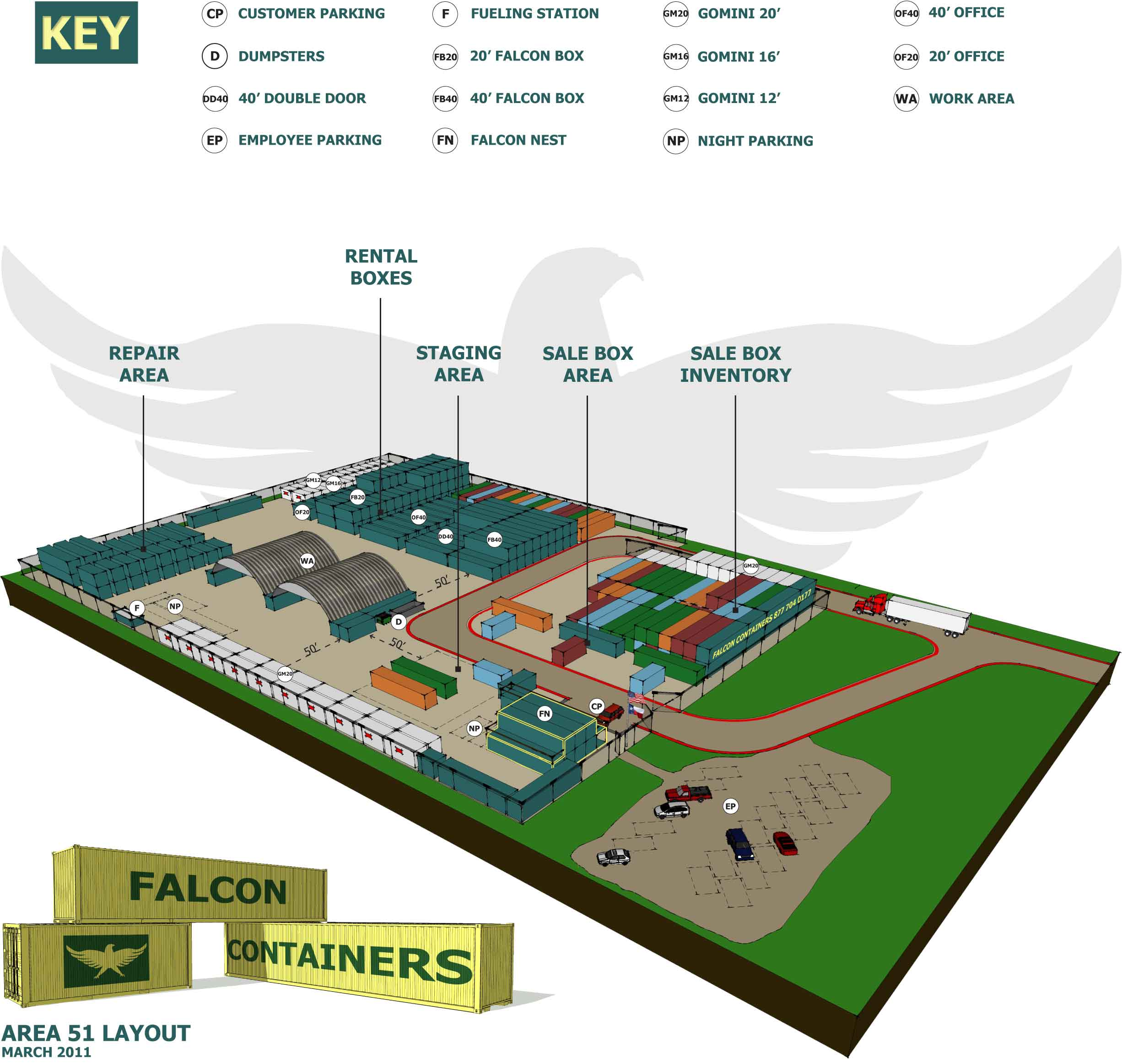 An aerial diagram of Falcon Structures' modified shipping container  manufacturing facility.