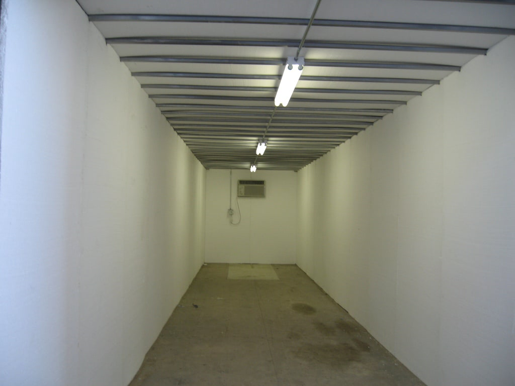 Shipping container interor with lights