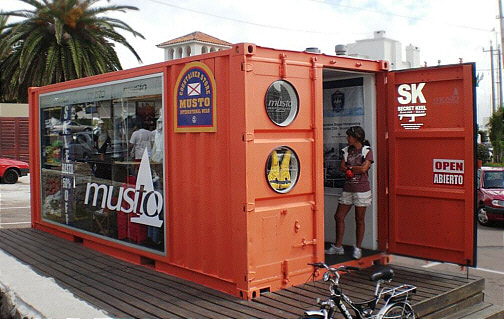 Modified shipping containers can be used as retail store fronts.