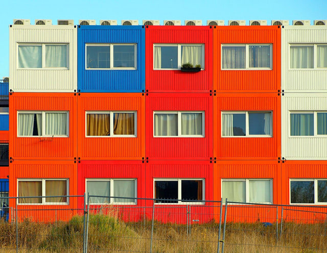 A shipping container based strucutre used a multi-family housing unit.