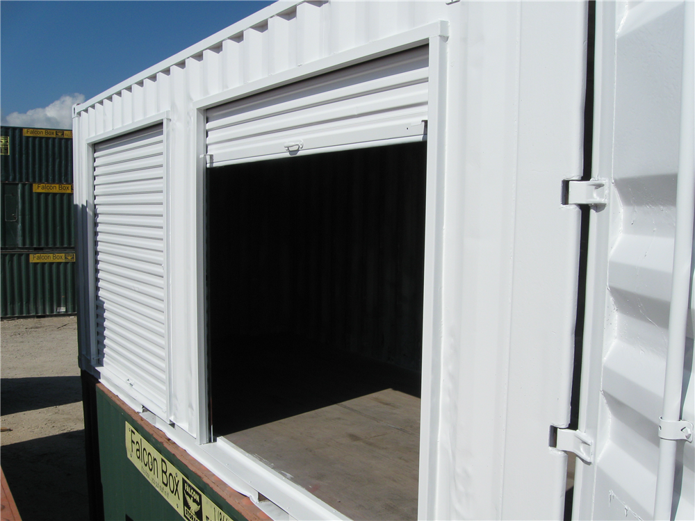 Shipping container roll up door - open