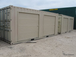 Shipping container modified to have overhead doors