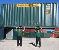 Co-founders Stephen Shang and Brian Dieringer pose with one of their shipping containers.