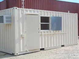 A shipping container modifed with a door and HVAC system to be a pantry.