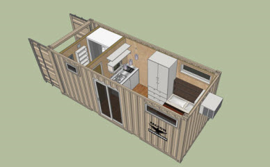 Floorplan for container housing