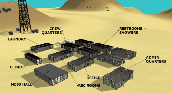 Rendering of a man camp made of shipping containers.