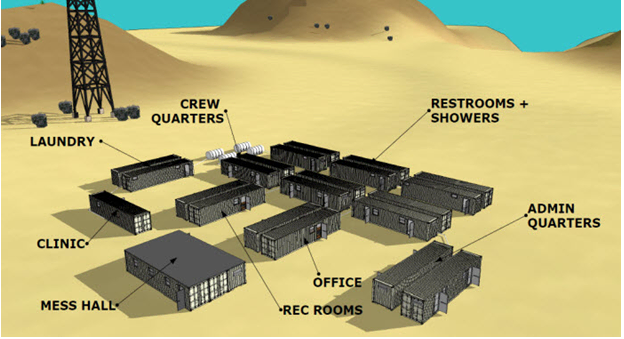 Oil field man camp designed with modified shipping containers as structures