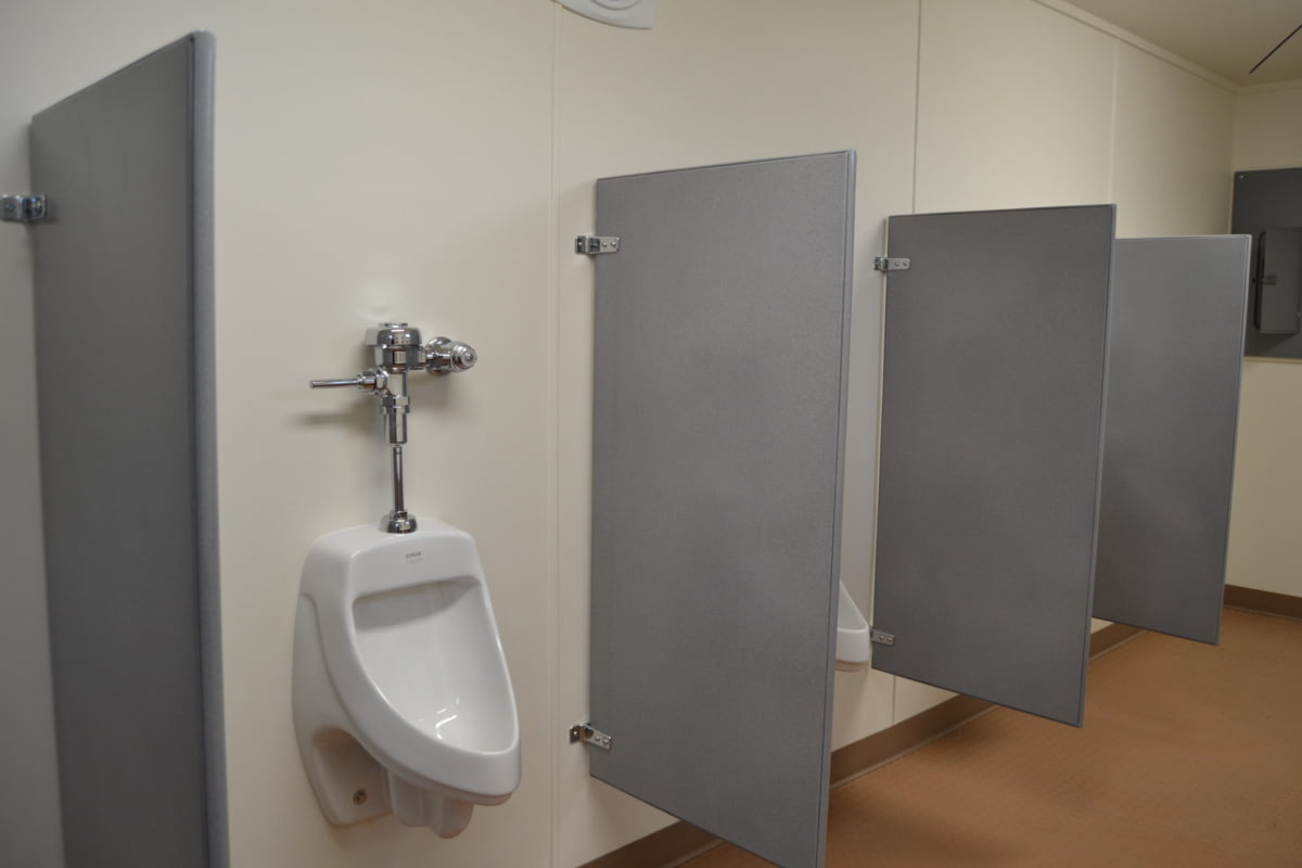 Urinals inside of a portable restroom