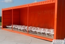 City of Round Rock open sided shipping container for teen hangout space
