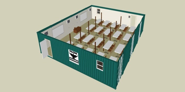 Rendering of a six container wide classroom.