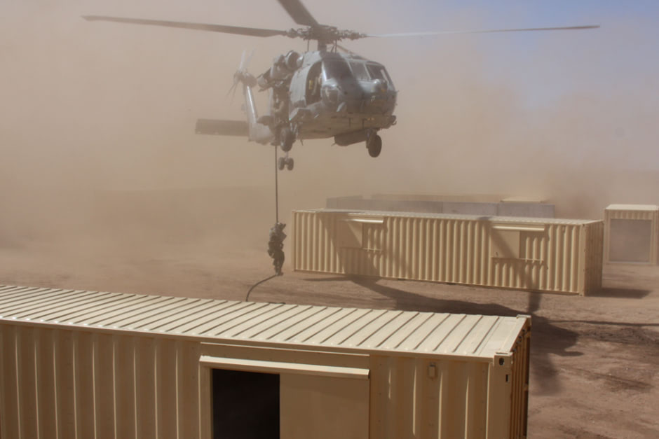 Air force training exercise in shipping container MOUT