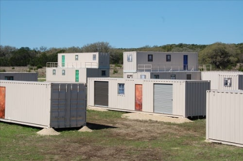 Military CIED training lanes using shipping containers