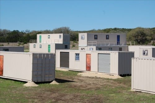 Container housing village for military training