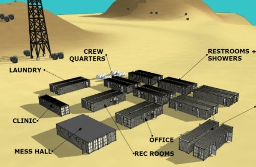 Click to learn more about how custom shipping containers can be used in oil field work camps.