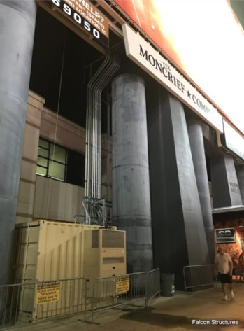 The equipment shelter has industrustrial grade air-conditioners to keep audio equipment cool.