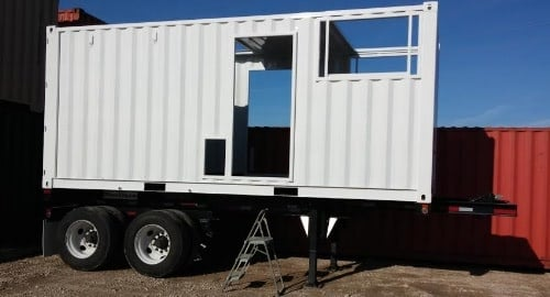 Mobile containerized generator on chassis.