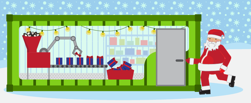 Santa uses a modified shipping container as an industrial equipment enclosure.