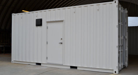 The power plant's modular shelter includes a personnel door for easy technician access.
