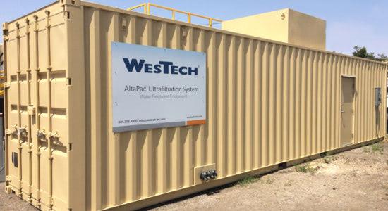 Exterior of WesTech's conex equipment enclosure