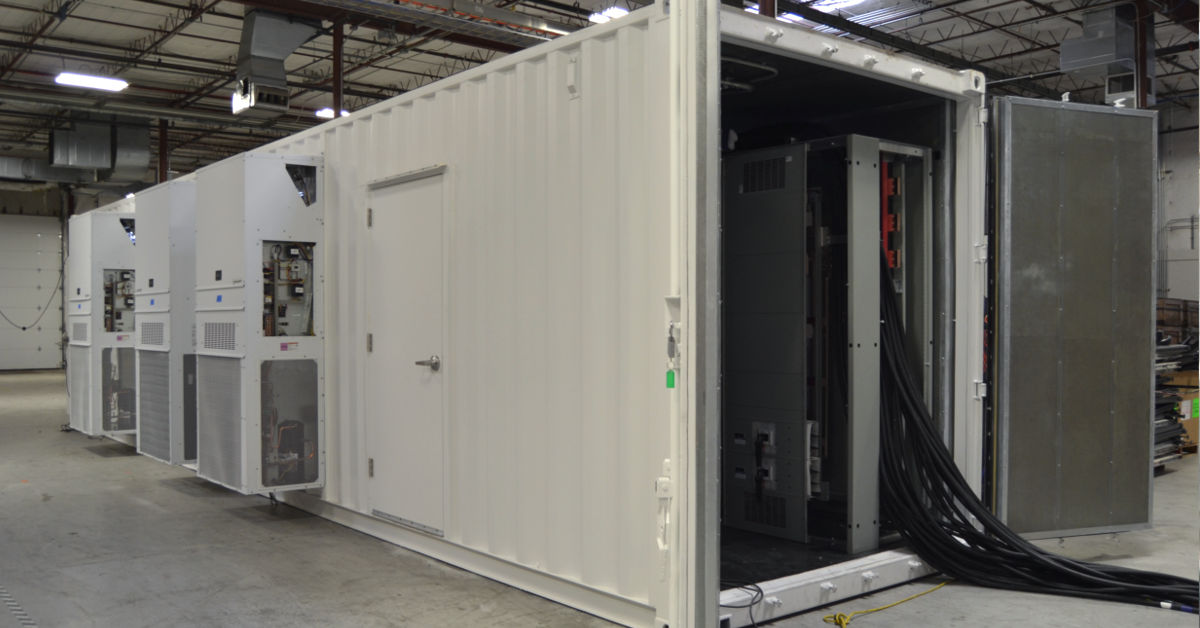 Exterior of prefab UPS equipment enclosure