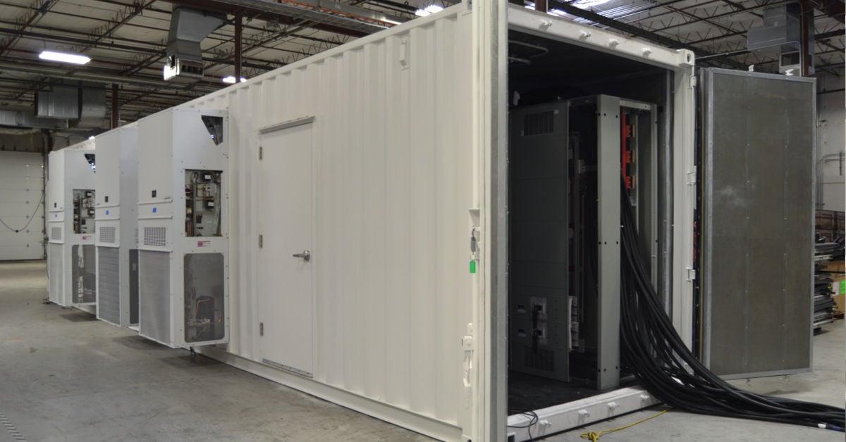 Exterior of prefab UPS equipment enclosure