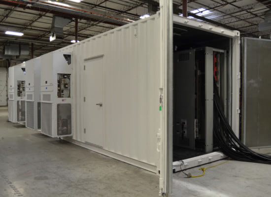 Exterior of shipping container converted to a modular equipment shelter for a UPS system