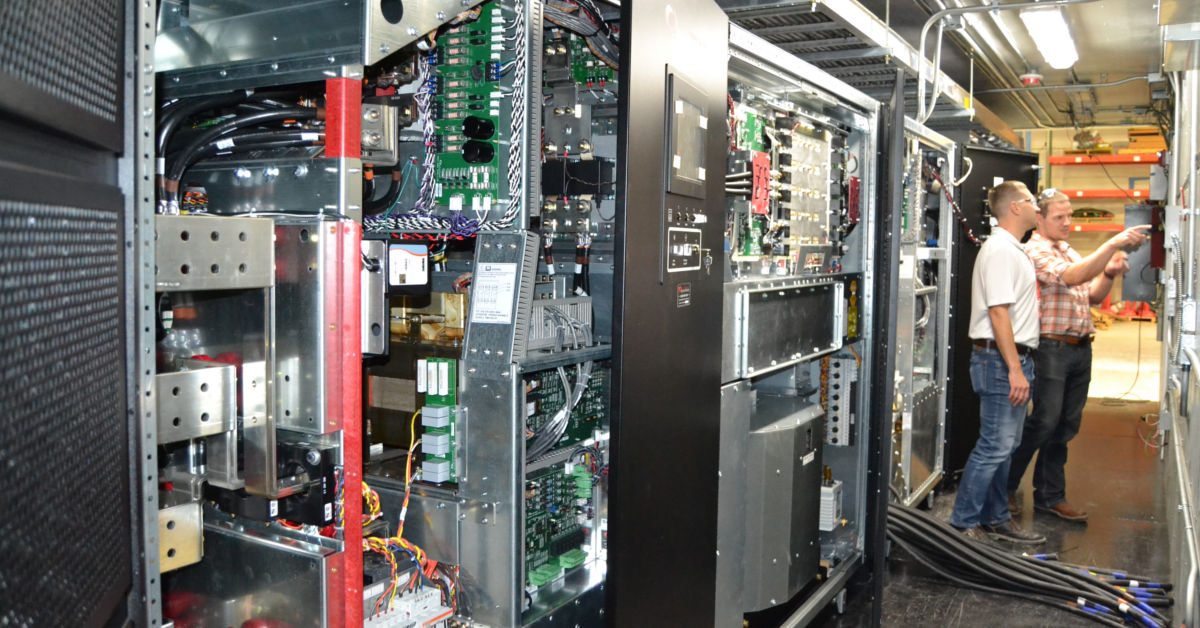 Interior of conex ups equipment enclosure
