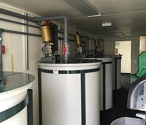 Water treatment equipment safe inside a conex modular shelter.