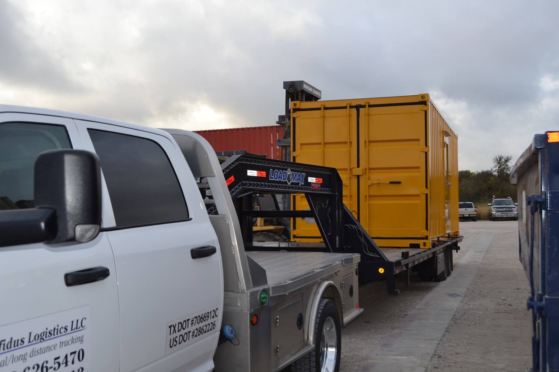 Oilfield storage being trucked out