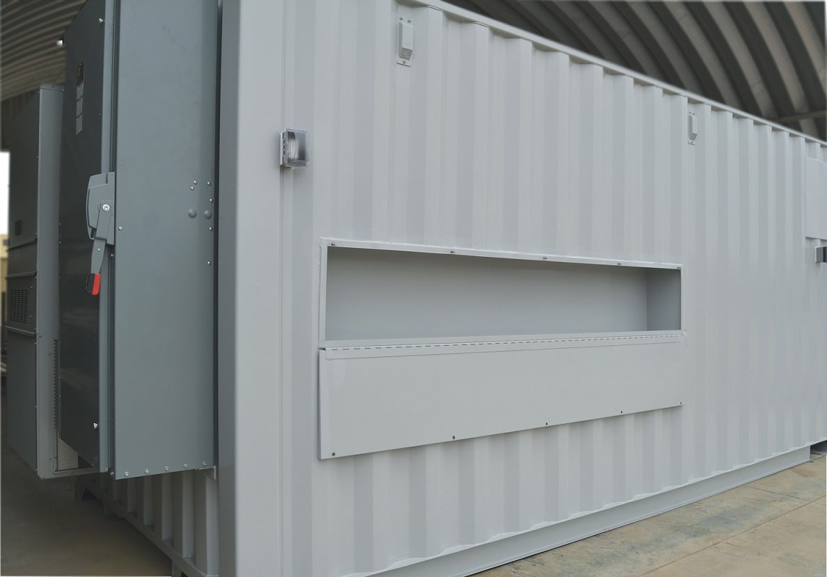 Custom designed utility port for shipping container equipment shelter