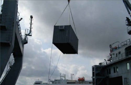 Container Transported by Crane