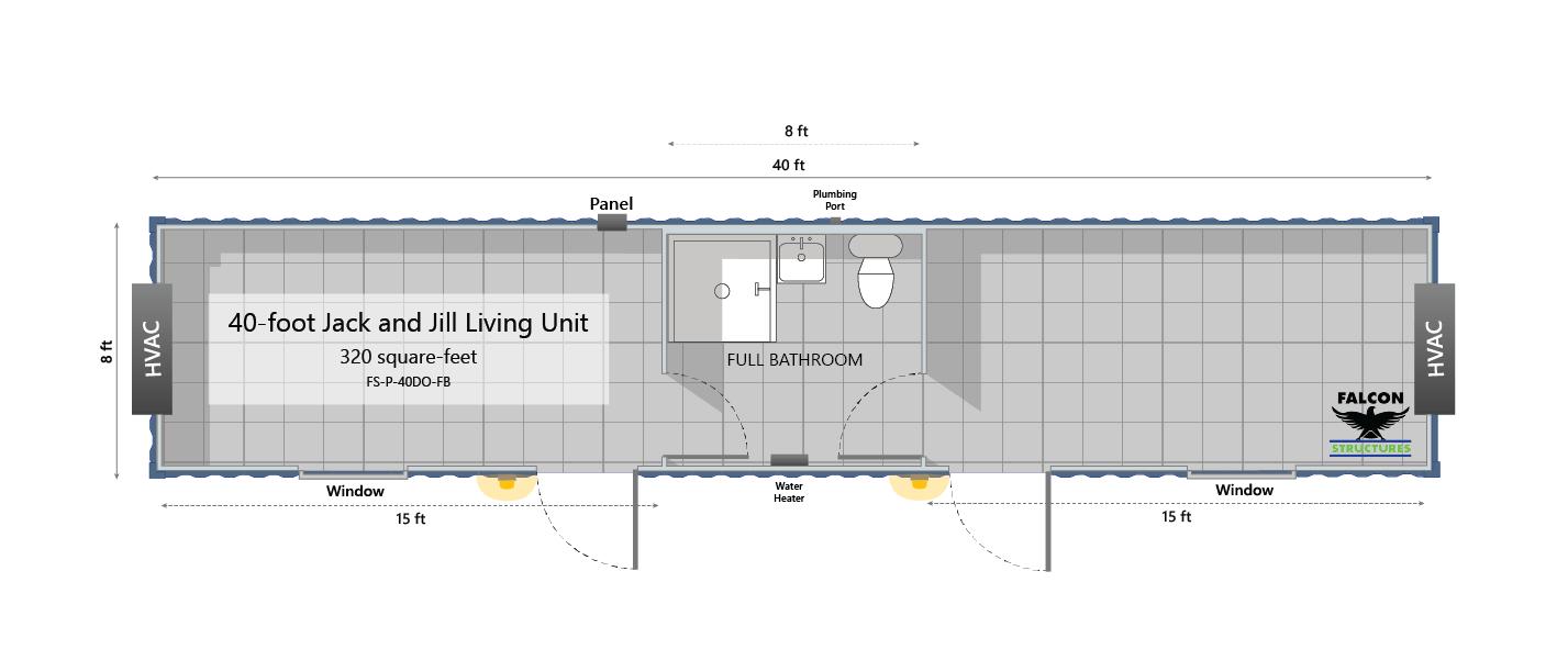 Floorplan for temporary workforce housing unit.