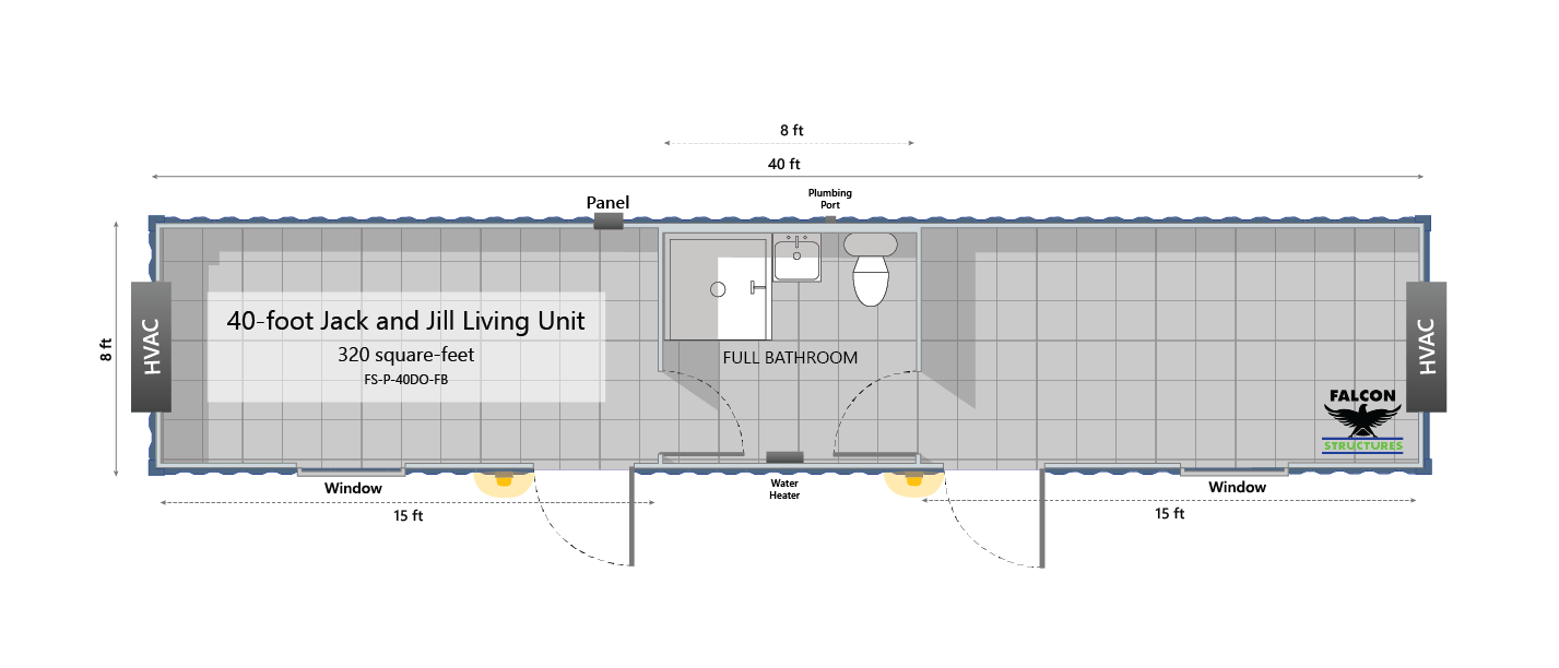 Floorplan for temporary workforce housing unit.