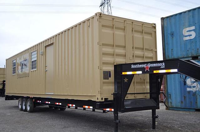 Falcon Structures placed this container-based workforce housing unit on a chassis for frequent moves.