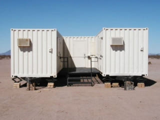 Housing for U.S. border patrol made from three modified shipping containers