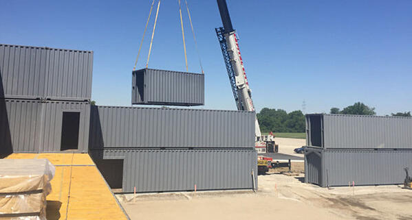 Modular construction enabled Falcon Structures to assemble the modified shipping containers quickly by crane