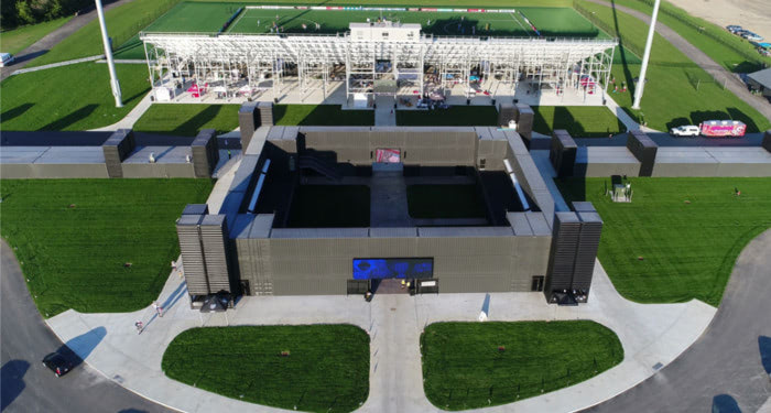 Aerial view of Fortress Obetz, a shipping container-based building.