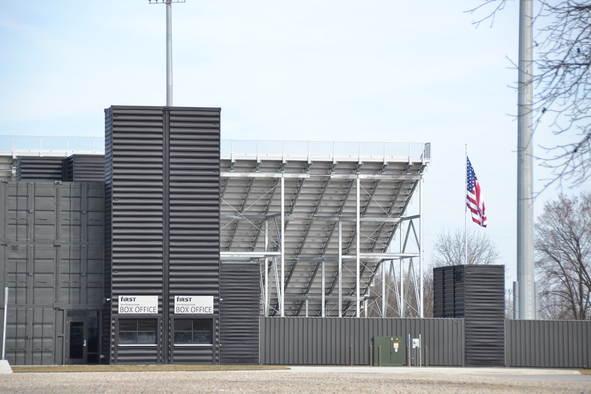 A custom container solution for a stadium: upright container towers