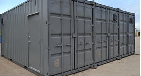 A product testing lab made of three shipping containers.