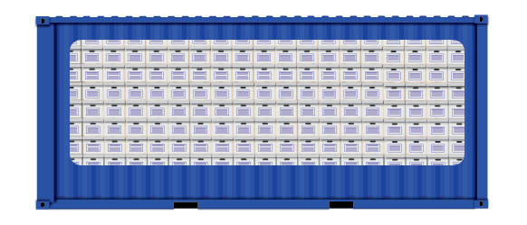 20-foot container filled to capacity with banker's boxes.