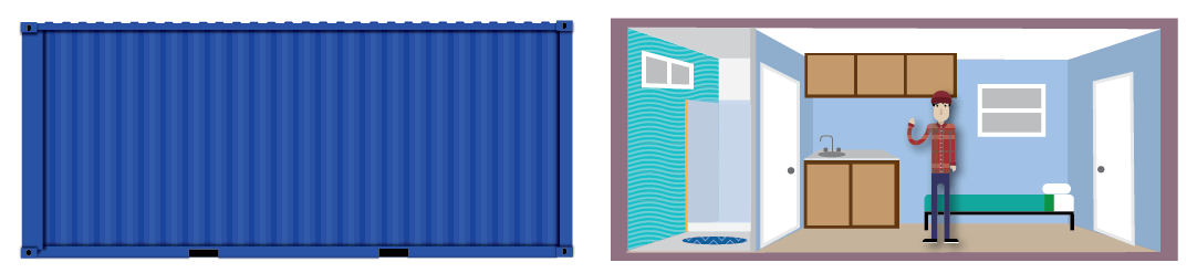 Comparison between a shipping container and San Francisco's smallest apartment.