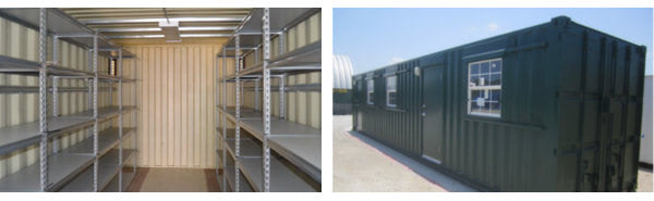 Shelving and bench space make modified shipping containers and excellent workshop.