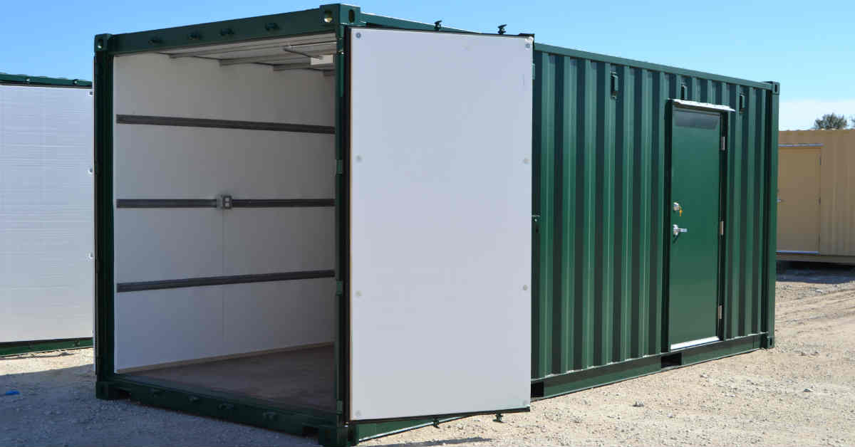 Climate controlled shipping container with insulated cargo doors and personnel door