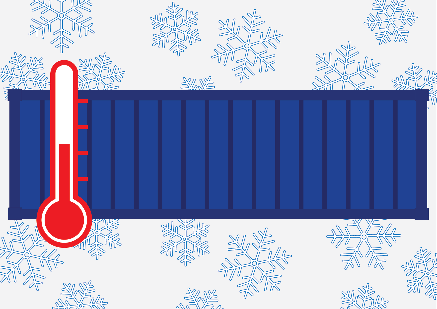 Shipping container graphic with thermometer