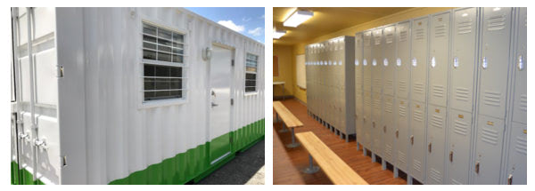 Commercial businesses can use modified shipping containers as on-brand and convenient storage.