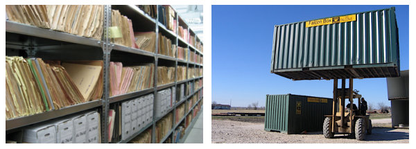 Modified shipping containers can serve as a mobile file room for remote jobs.