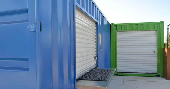Roll-up doors are a popular option for modified shipping containers.