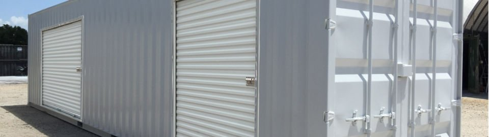 Banner for portable storage container; includes overhead doors.